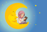 A muslim girl reading on the moon - 221313265