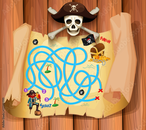 Fototapeta A pirate maz game template