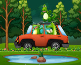 Crocodile travel in forest - 221314833
