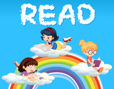 Girls reading book on cloud - 221315013