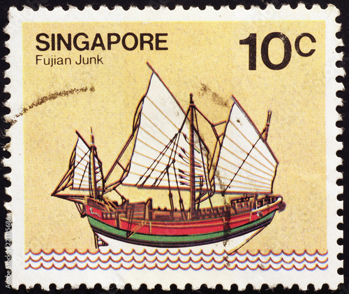 Traditional junk on postage stamp of Singapore