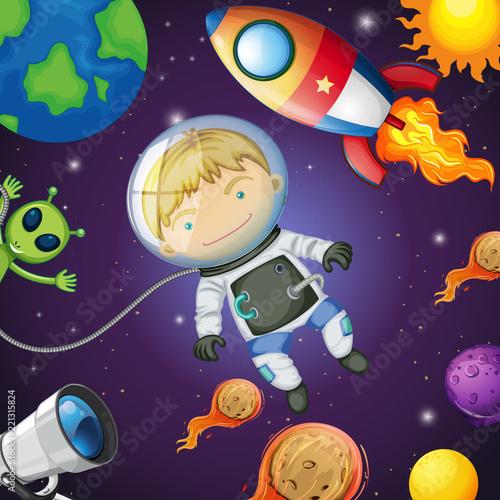 Fototapeta Happy astronaut in the space
