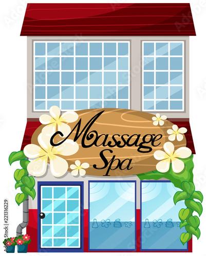 Naklejka A massage spa shop on white background