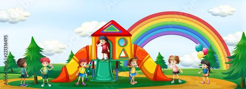 Fototapeta Kids playing at playground