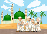 A muslim family in front of mosque - 221316665
