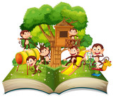 Monkey at the park open book - 221316686