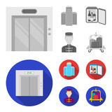 Elevator car, mini bar, staff, building.Hotel set collection icons in monochrome,flat style vector symbol stock illustration web. - 221326425