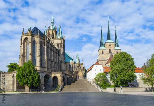 Leinwanddruck Bild Dom hill of Erfurt Germany
