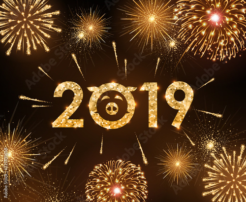 vector holiday festival golden firework happy new year card 2019