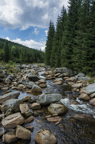 Border river with large stones in the water. Wild river flows through valley. - 221340805