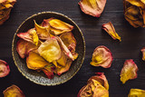 Brass Bowl of Dried Orange Rose Petals - 221342032