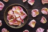 Brass Bowl of Dried Pink Rose Petals - 221342052