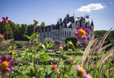 French castle with french gardens from