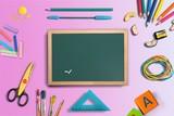 Little blackboard and school supplies on  background - 221345457