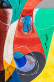 A Modernist Abstract Watercolor Painting With Curved Shapes, Color and Lines.  Some Wet-in-Wet painting. - 221347684