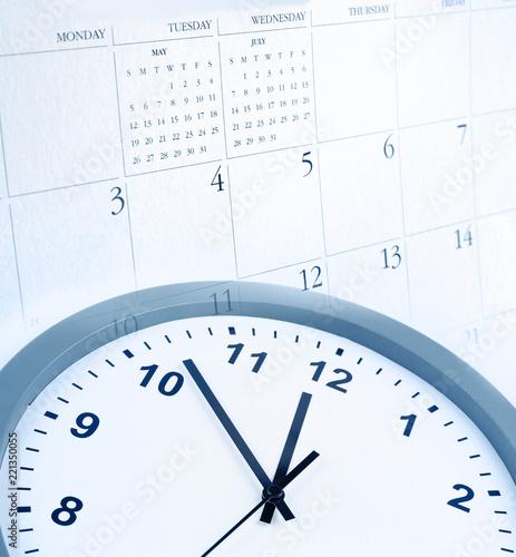 Leinwanddruck Bild Clock and calendar