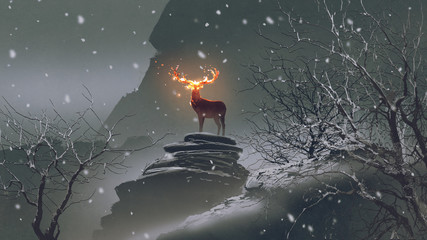the deer with its fire horns standing on rocks in winter landscape, digital art style, illustration painting © grandfailure