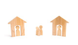 Wooden houses and people and a man between them on a white background. Neighbors. Relations between neighbors in the suburbs. A homeless family, lack of shelter and shelter. - 221355454