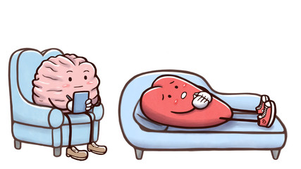 Psychologist brain in a therapy session with a patient heart on couch - isolated in white background © Guilherme Yukio