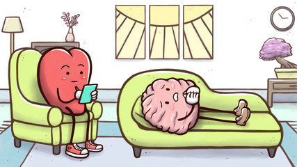 Psychologist heart in a therapy session with a patient brain on couch  © Guilherme Yukio