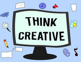 Handwriting text Think Creative. Concept meaning The ability to perceive patterns that are not obvious. - 221364270