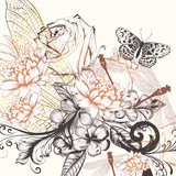 Beautiful vector background with hand drawn flowers in vintage style - 221365092