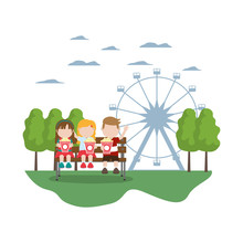 Children Seating And Eat Popcorn In The Carnival Sticker