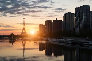 Paris skyline with Eiffel tower and Seine river in Paris, France.