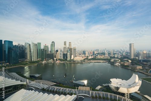 Singapore cityscape in morning. Landscape of Singapore business building around Marina bay. Modern high building in business district area..