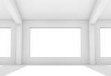3d white room with empty windows - 221369600