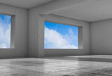 Empty 3d gray room with wide windows - 221369610