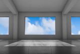 Empty white room with wide windows 3 d - 221369621