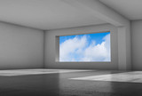 Room with wide window and shiny concrete 3 d - 221369622