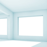Empty white room with wide window, 3 d - 221369623