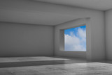 Empty room with windows and concrete floor - 221369624