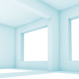 3 d interior. White room with wide windows - 221369634