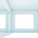 Empty 3d white room, front view - 221369643