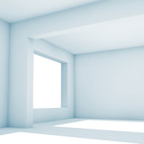 Empty white room with wide windows, 3d - 221369653
