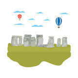 classical stonehenge sculpture and air balloons - 221371807