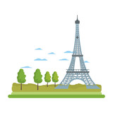 eiffel tower structure and cute trees - 221371885