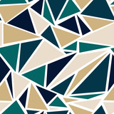 Geometric Triangle Pattern in Teal and Gold - 221376618