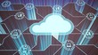 Leinwandbild Motiv Cloud service icon with options and devices