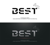Technology alphabet silver metallic designs for logo, Poster, Invitation. Exclusive Letters Typography Number Regular font Digital and Sport concept. vector illustrator - 221379287