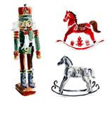 Christmas toys. Nutcracker, horses. Watercolor hand drawing illustration - 221388681