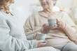 Senior women drinking tea during conversation in a nursing house - 221389041