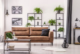Table in front of leather sofa in white apartment interior with lamp, posters and plants. Real photo