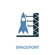 Spaceport icon in 2 color design. Pixel perfect simple pictogram spaceport icon from space icon collection. UI. Web design, apps, software, print usage.