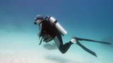 Man scuba diver on the blue water - 221395431