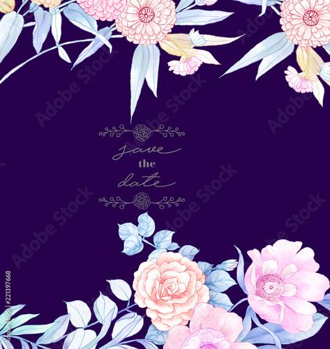Elegancki ręcznie malowany akwarelowy ołówek róży kwiat