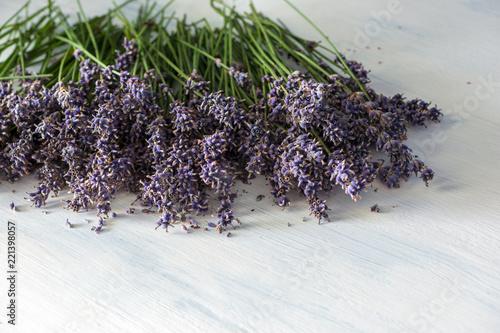 Lavender on white wooden vintage table